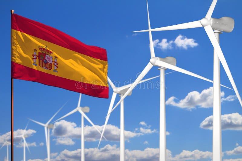 Alternative Energie Spaniens, industrielles Konzept der Windenergie mit Windmühlen und industrielle Illustration der Flagge - aus vektor abbildung
