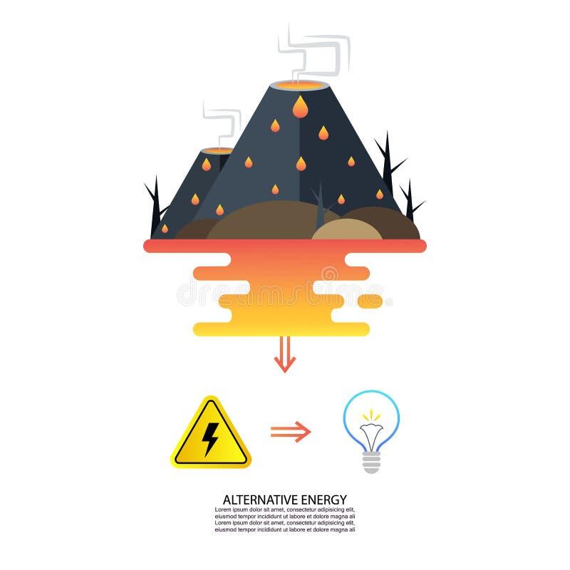 Alternative Energie vom Vulkan vektor abbildung