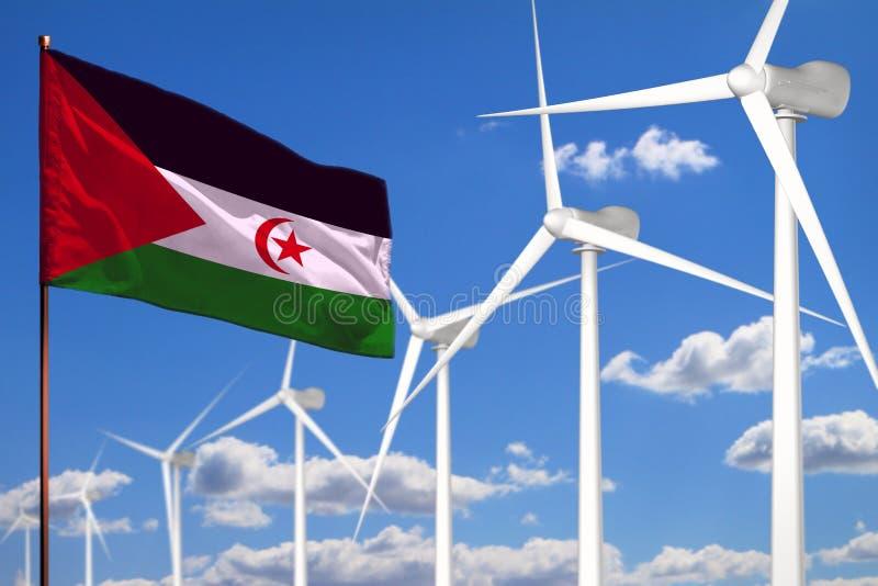 Alternative Energie Westsaharas, industrielles Konzept der Windenergie mit Windmühlen und industrielle Illustration der Flagge -  stock abbildung