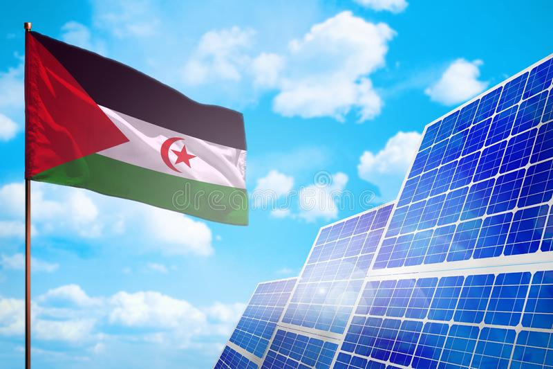 Alternative Energie Westsaharas, Solarenergiekonzept mit industrieller Illustration der Flagge - Symbol des Kampfes mit der globa stock abbildung