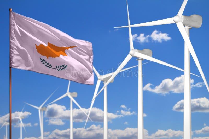 Alternative Energie Zyperns, industrielles Konzept der Windenergie mit Windmühlen und industrielle Illustration der Flagge - ausw lizenzfreie abbildung
