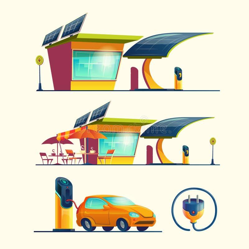 Alternative Energiequellen, Karikatursatz lizenzfreie abbildung