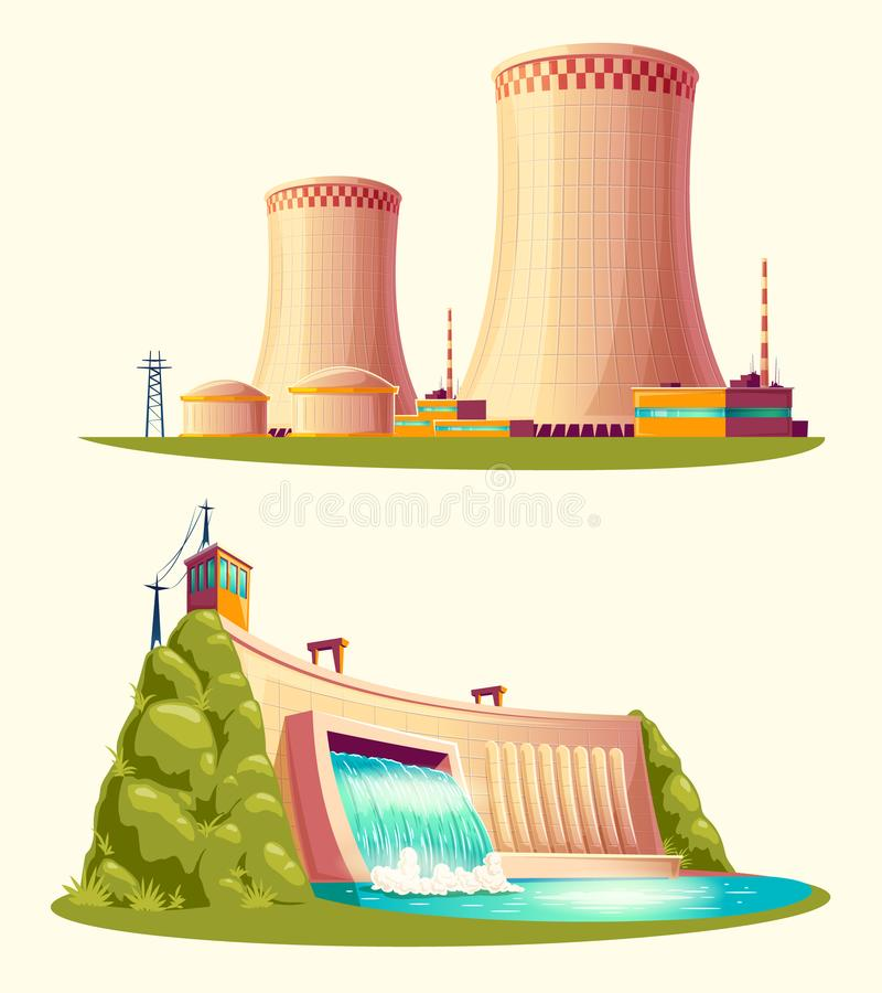 Alternative Energiequellen, Karikatursatz stock abbildung