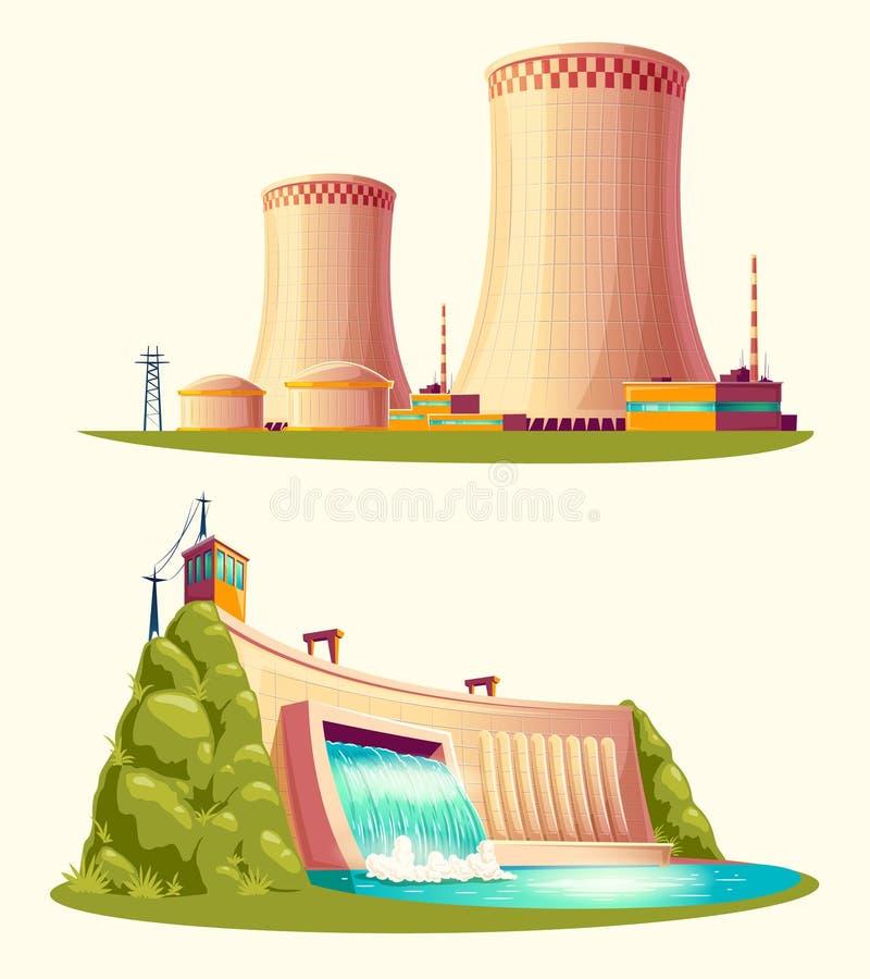 Alternative Energiequellen, Vektorkarikatursatz stock abbildung