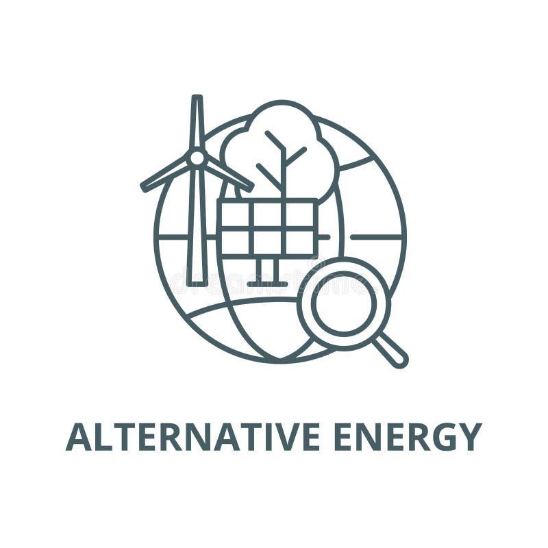 Alternative Energieträgerlinie Ikone, Entwurfskonzept, lineares Zeichen stock abbildung