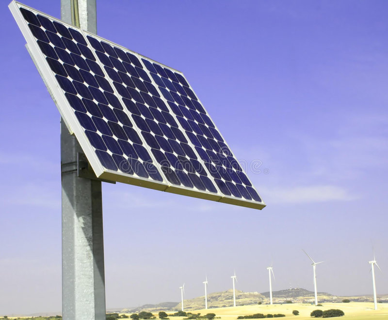 Alternative energy. Alternative solar and wind energy stock photos