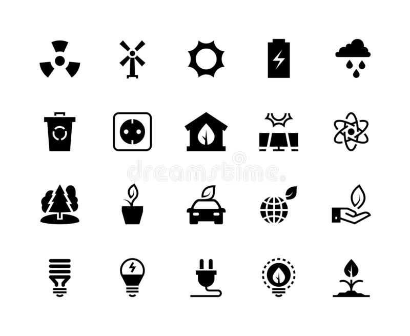 Alternative energy black icons. Renewable eco nature green water wind solar energy saving power plant factory. Clean. Energy vector set stock illustration