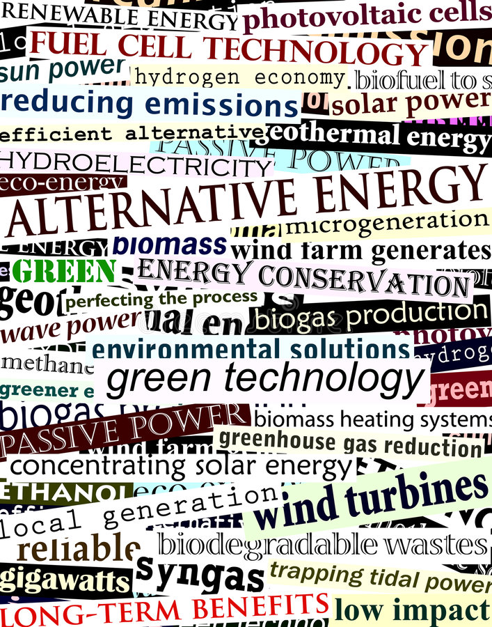Alternative energy headlines. Background editable vector illustration of alternative energy newspaper headlines royalty free illustration
