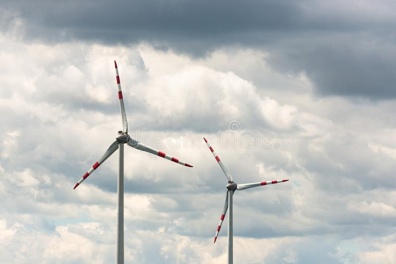 Alternative energy source. Windmill against the sky. Wind turbine in Austria stock images