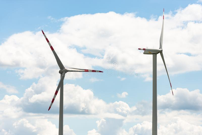 Alternative energy source. Windmill against the sky. Wind turbine in Austria stock image