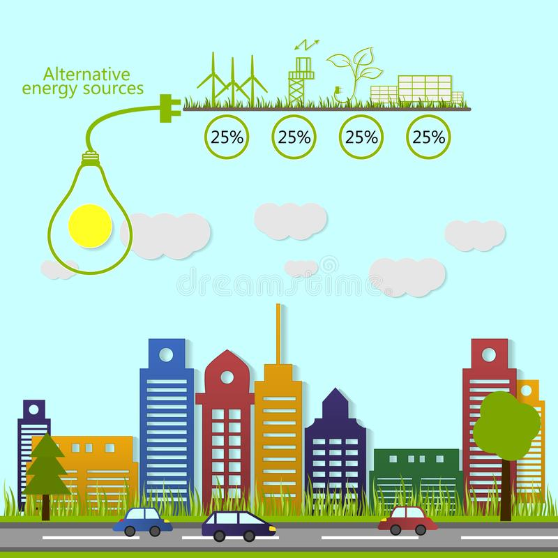 Alternative energy sources. Ecological concept. Renewable energy. alternative energy sources. Ecological concept. Vector vector illustration