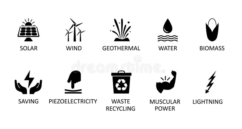 Alternative energy sources icons. Renewable energy sign, nature power symbols – vector. Alternative energy sources icons. Renewable energy sign, nature vector illustration