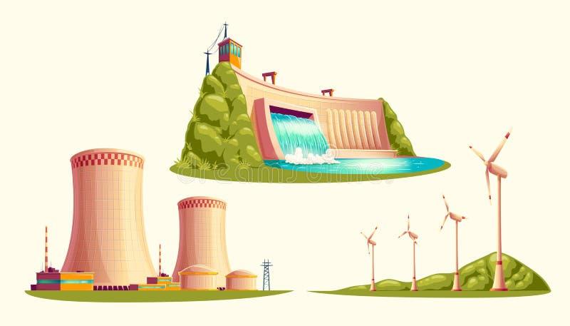 Alternative energy sources, vector cartoon set royalty free illustration