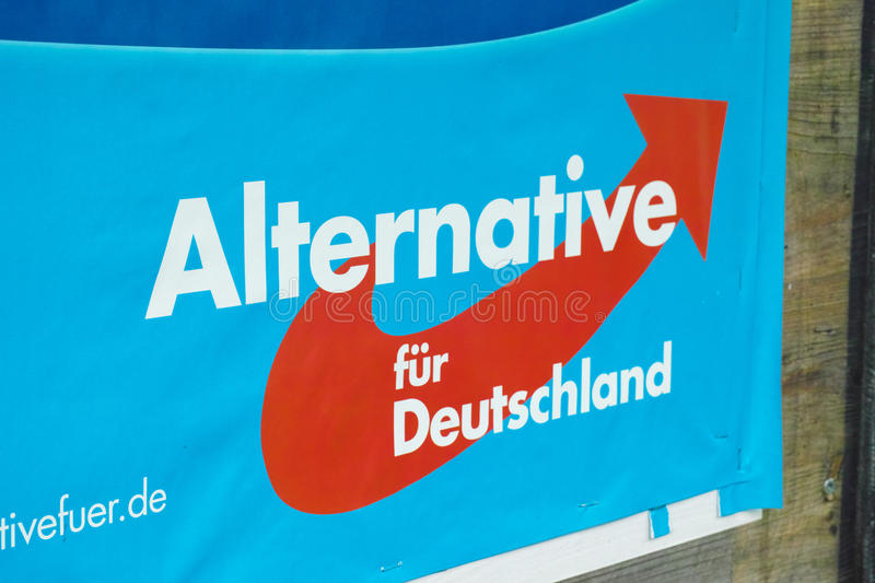 Alternative für Deutschland. Tight crop of a poster of the new german party and one of the big winners of the european elections 2014 in germany Alternative f stock photography