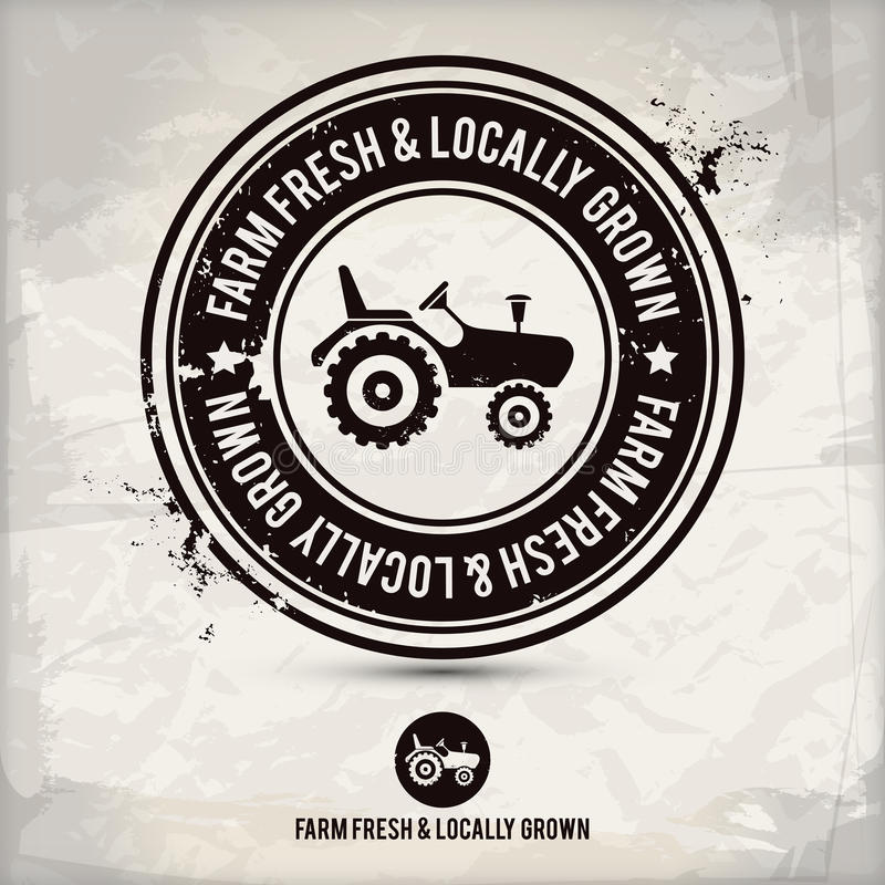 Alternative farm fresh & locally grown stamp. On textured background, which is made from several transparent layers for a worn, rubbed effect, therefore saved royalty free illustration