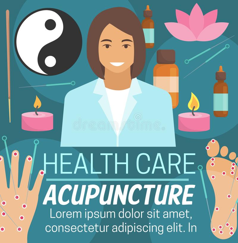 Alternative Gesundheitswesenmedizin der Akupunktur stock abbildung
