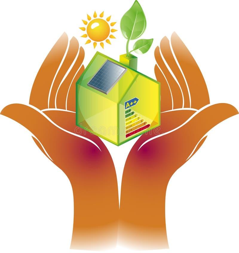 Alternative grüne Energie oder Konzept des grünen Hauses vektor abbildung