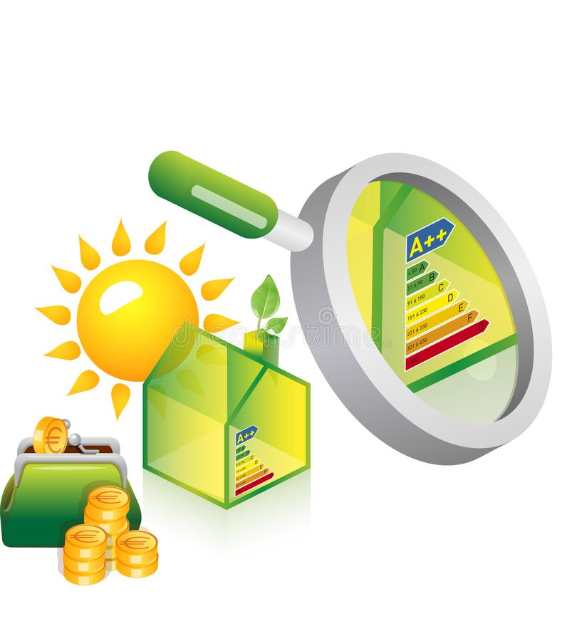 Alternative grüne Energie oder Konzept des grünen Hauses lizenzfreie abbildung