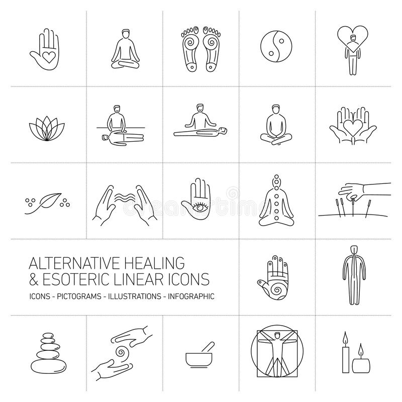 Alternative healing and esoteric linear icons set black on white. Background | flat design illustration and infographic royalty free illustration