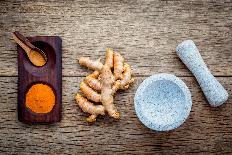 Alternative ingredients for skin care. Homemade scrub curcumin p royalty free stock images