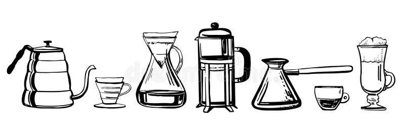 Alternative Kaffeebrauverfahren Handgezogener Entwurfsskizzen-Vektorsatz lizenzfreie abbildung