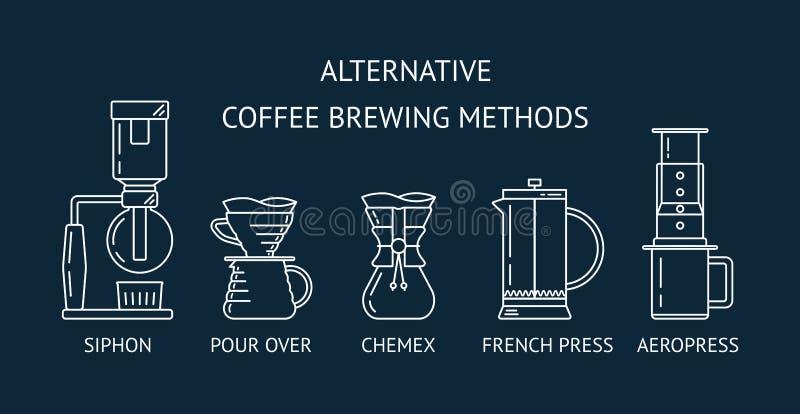 Alternative Kaffeebrauverfahren Stellen Sie weiße Linie Ikonen des Vektors ein Druckdose, gießen vorbei, chemex, Franzosen drücke lizenzfreie abbildung
