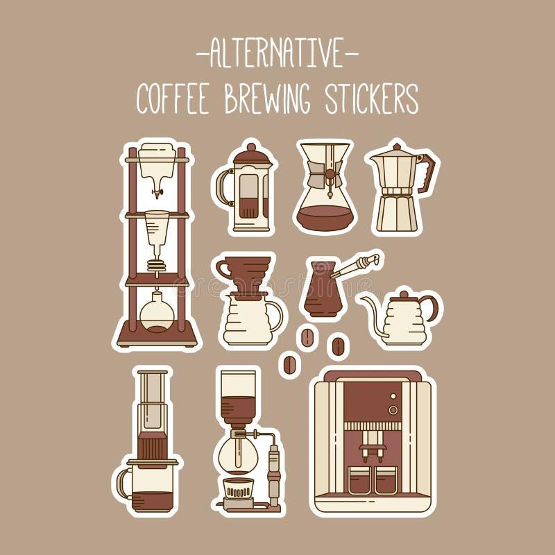 Alternative Kaffeebrauverfahrenaufkleber eingestellt Sammlung Vektorfiltrierapparate stock abbildung