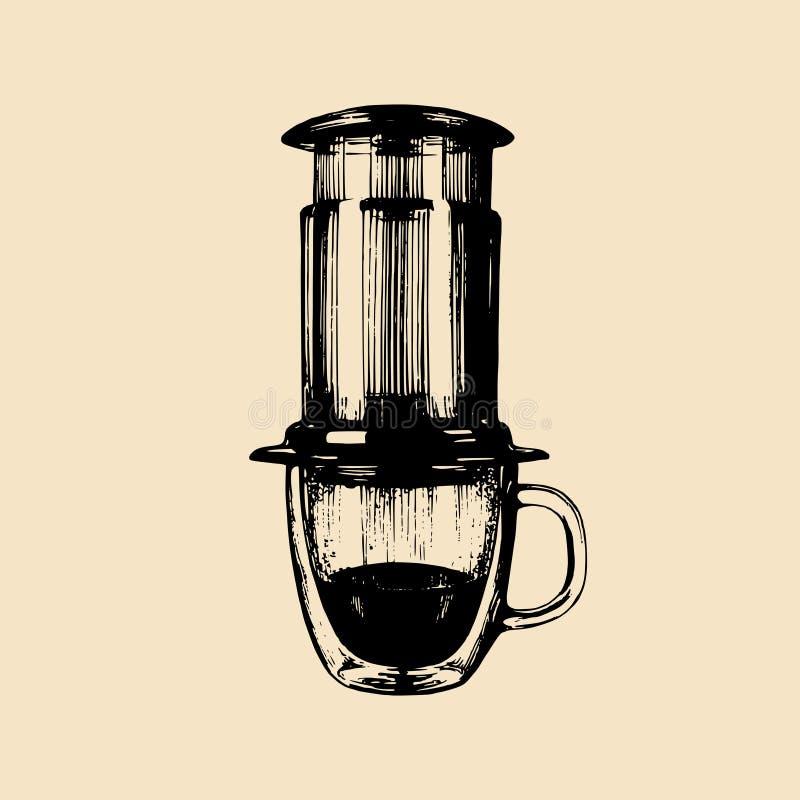 Alternative Kaffeeproduzentillustration des Vektors Hand skizzierte Gerät für das Espressobrauen Café, Restaurantmenüdesign vektor abbildung