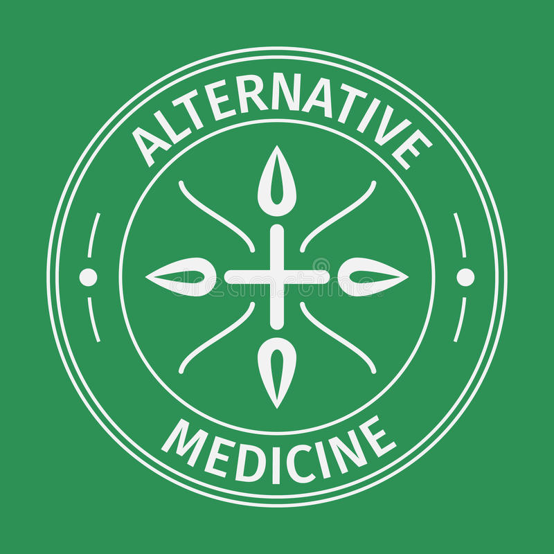 Alternative medecine icon with cross and leaves .Isolated on green background. vector illustration