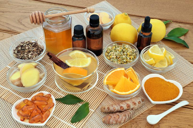 Alternative Medicine for Cold and Flu Remedy royalty free stock photos