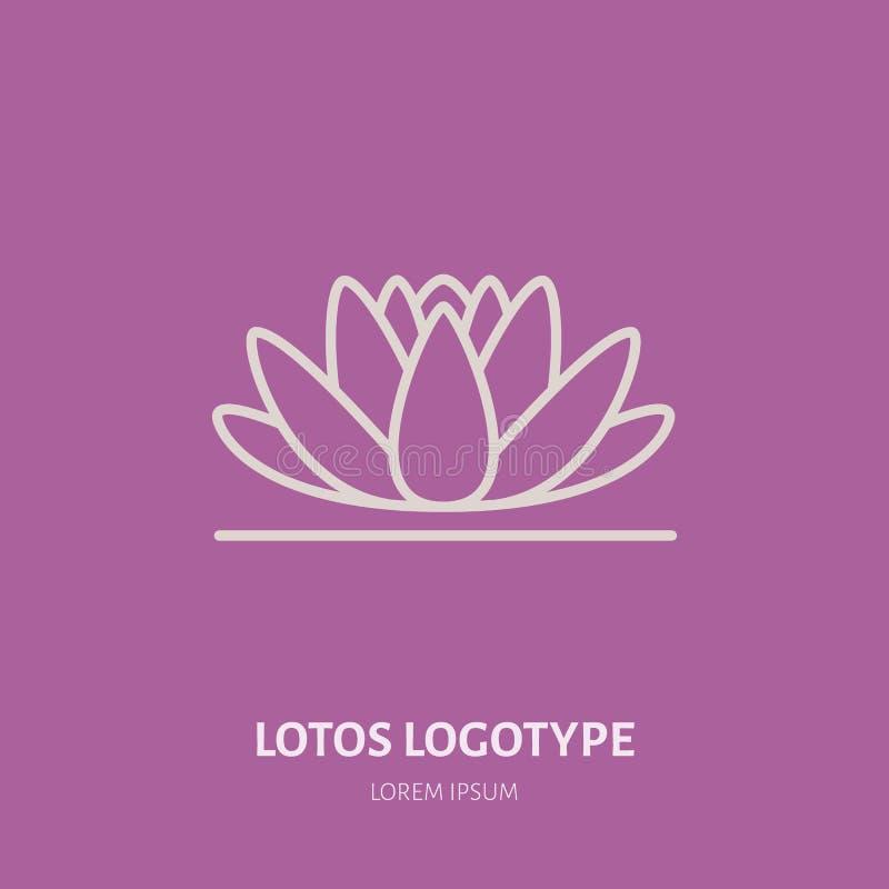 Alternative medicine flat line icon, logo. Vector illustration of lotos flower for traditional treatment, ayurveda. Massage or yoga center royalty free illustration