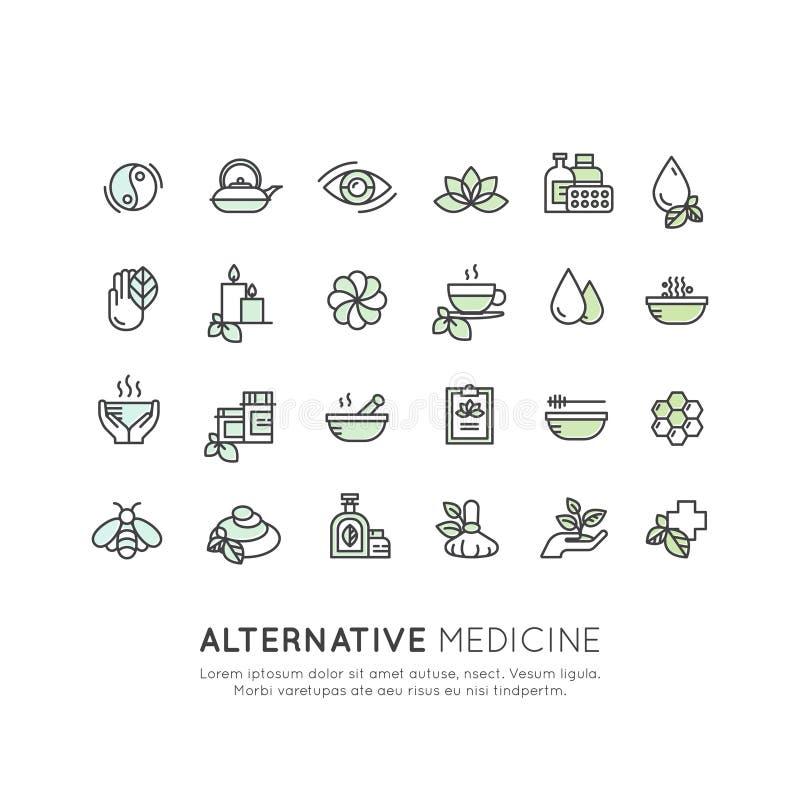 Alternative Medicine. IV Vitamin Therapy, Anti-Aging, Wellness, Ayurveda, Chinese Medicine. Holistic centre. Vector Icon Style Logo Sign Set of Alternative vector illustration