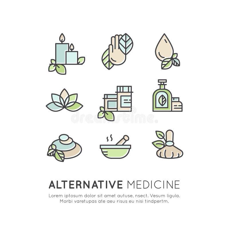 Alternative Medicine. IV Vitamin Therapy, Anti-Aging, Wellness, Ayurveda, Chinese Medicine. Holistic centre. Vector Icon Style Logo Sign Set of Alternative stock illustration