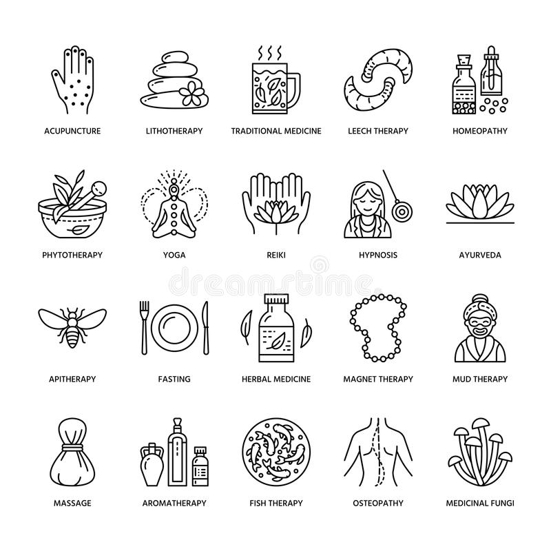 Alternative medicine line icons. Naturopathy, traditional treatment, homeopathy, osteopathy, herbal fish and leech royalty free illustration