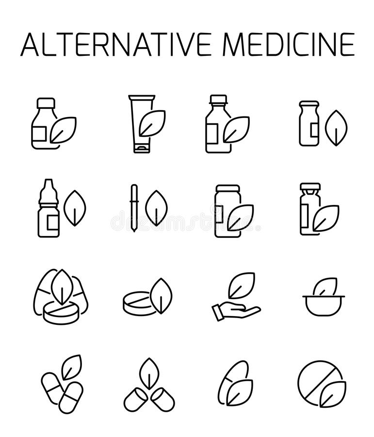 Alternative medicine related vector icon set. Well-crafted sign in thin line style with editable stroke. Vector symbols isolated on a white background. Simple royalty free illustration