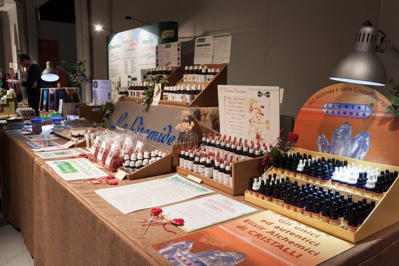 Alternative medicine stall at Olis Festival in Milan, Italy stock photo