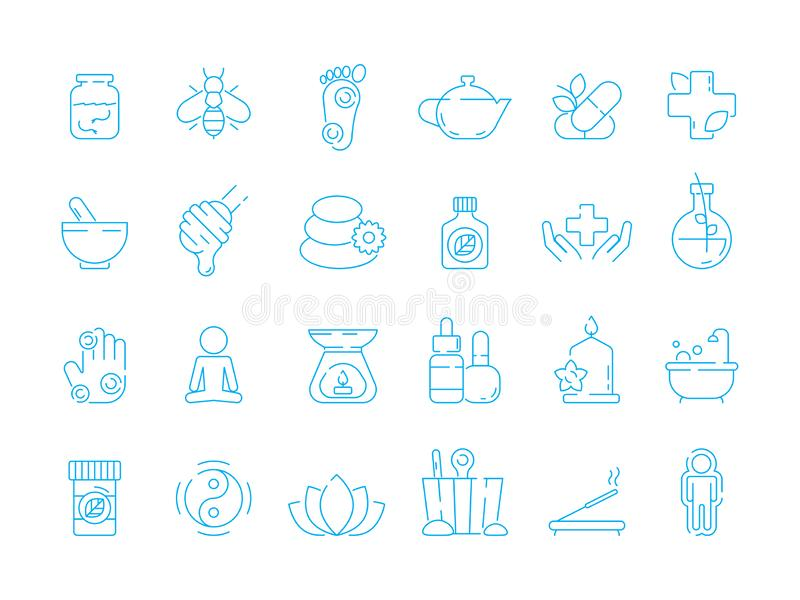 Alternative medicine symbols. Holistic vitamin herbal care traditional naturopathy vector linear icon set vector illustration