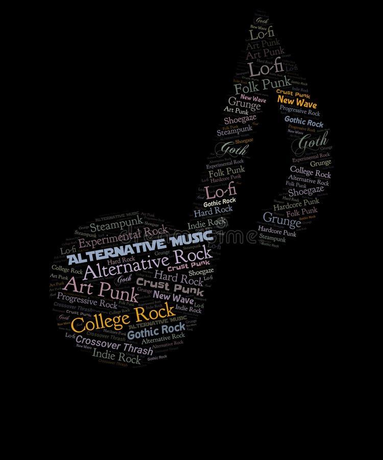 Alternative music word cloud graphic vector illustration