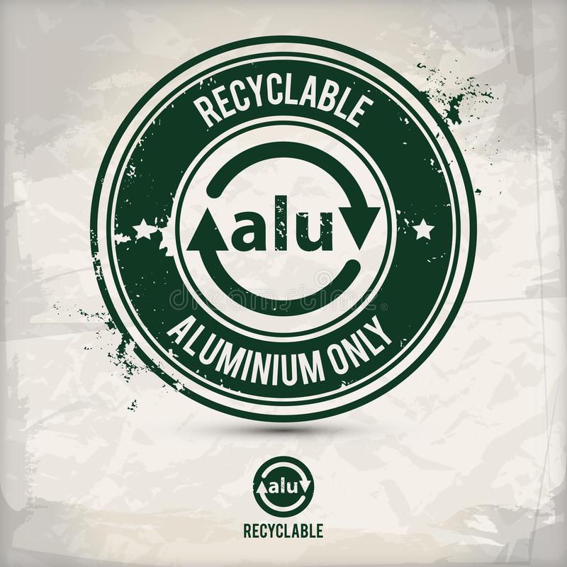 Alternative recyclable alu stamp. Containing: two environmentally sound eco motifs in circle frames, grunge ink rubber stamp effect, textured paper background royalty free illustration