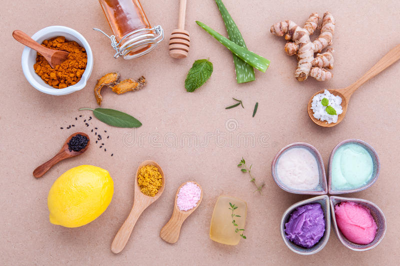 Alternative skin care and homemade scrubs with natural ingredients sage ,turmeric ,sea salt ,honey, aloe royalty free stock photography