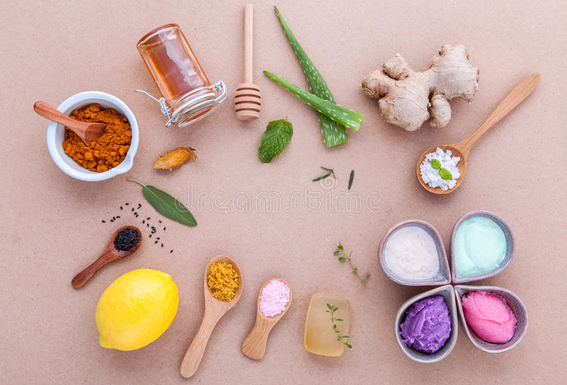 Alternative skin care and homemade scrubs with natural ingredients sage ,turmeric ,sea salt ,honey, aloe stock photo