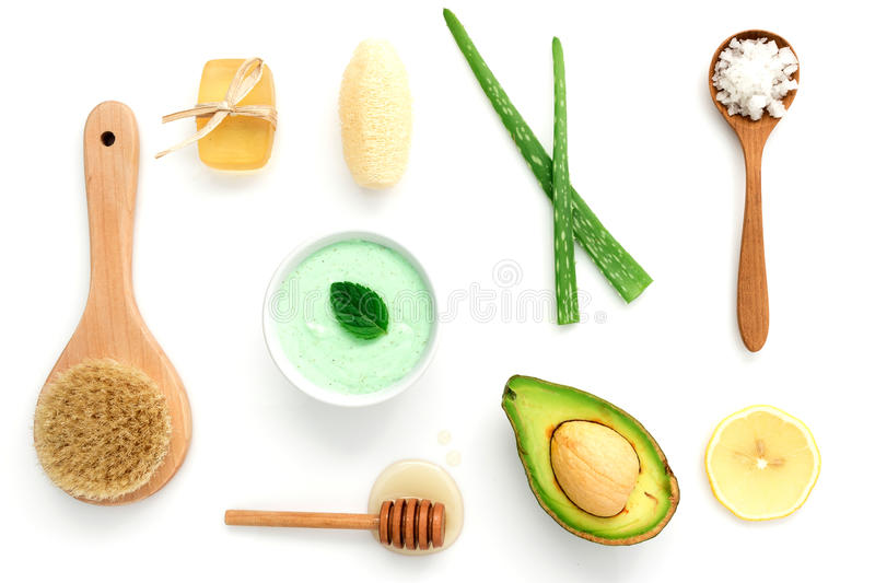 Alternative skin care and homemade scrubs with natural ,sea salt royalty free stock photo