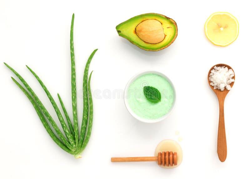 Alternative skin care and homemade scrubs with natural ,sea salt stock photos