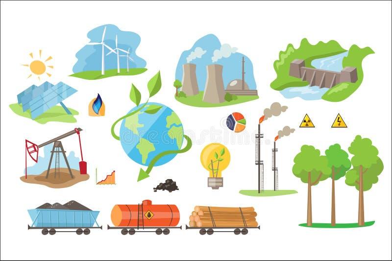 Alternative Stromerzeugungsikonen Umweltsmäßig umweltfreundliche Quellen der Energie Flache Vektorelemente stock abbildung