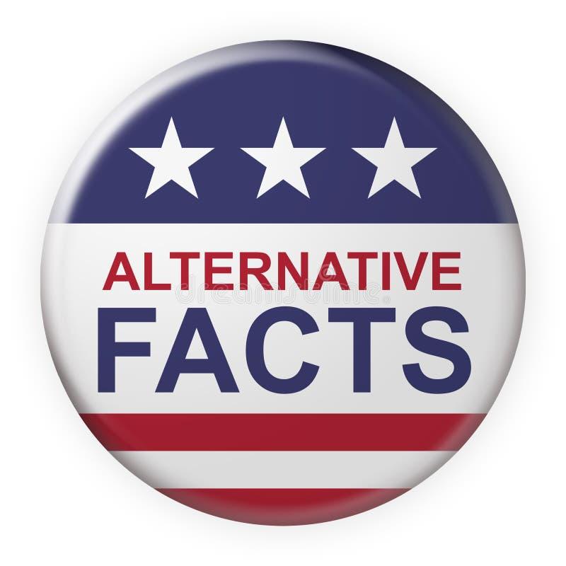 Alternative Tatsachen knöpfen mit US-Flagge, Illustration 3d auf weißem Hintergrund stock abbildung