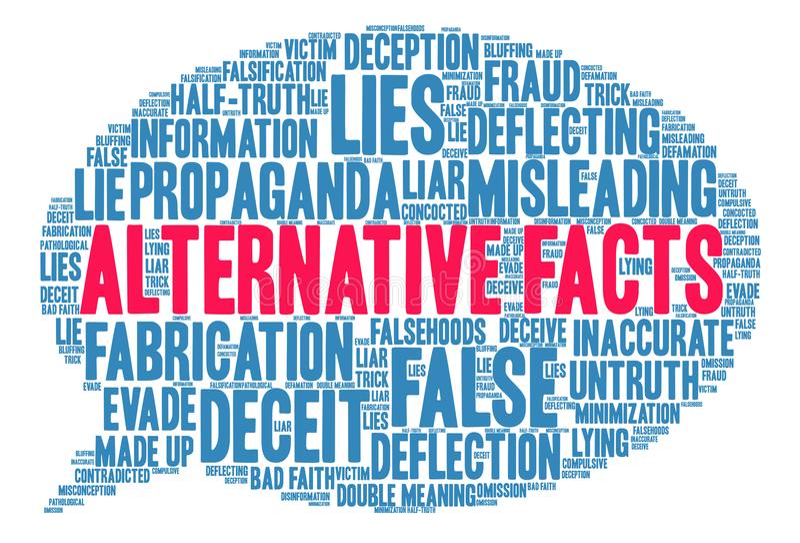 Alternative Tatsachen-Wort-Wolke lizenzfreie abbildung