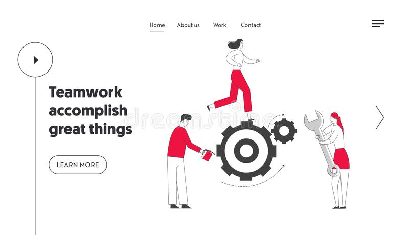 Alternative Thinking, Team Working Process Website Landing Page. Tiny Business People Generating Ideas Set in Motion. Huge Cogwheels Gears Mechanism Web Page vector illustration