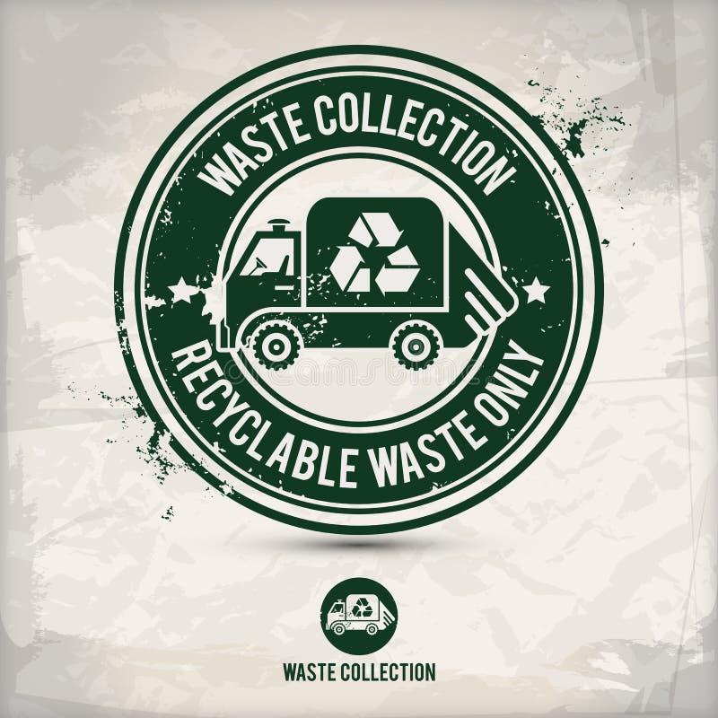 Alternative waste collection stamp vector illustration