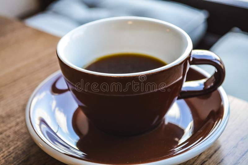 Alternative way of preparation of coffee. The invigorating morning strong drink in the server and a cup. Coffee shop. Alternative way of preparation of coffee stock photos