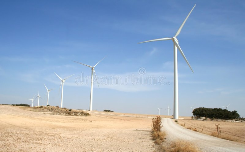 Alternative wind energy. In the countryside royalty free stock images